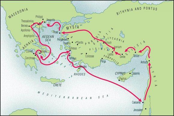 Karta som visar hur Paulus reste genom Mindre asien, till dagens grekland och vidare.