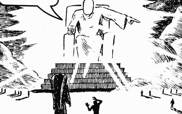 Tecknad ansiktslös gigant sitter på en tron