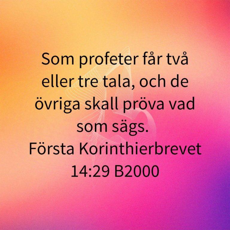 Som profeter får två eller tre tala, och de övriga skall pröva vad som sägs. Första Korinthierbrevet 14:29 enligt Bibel 2000.