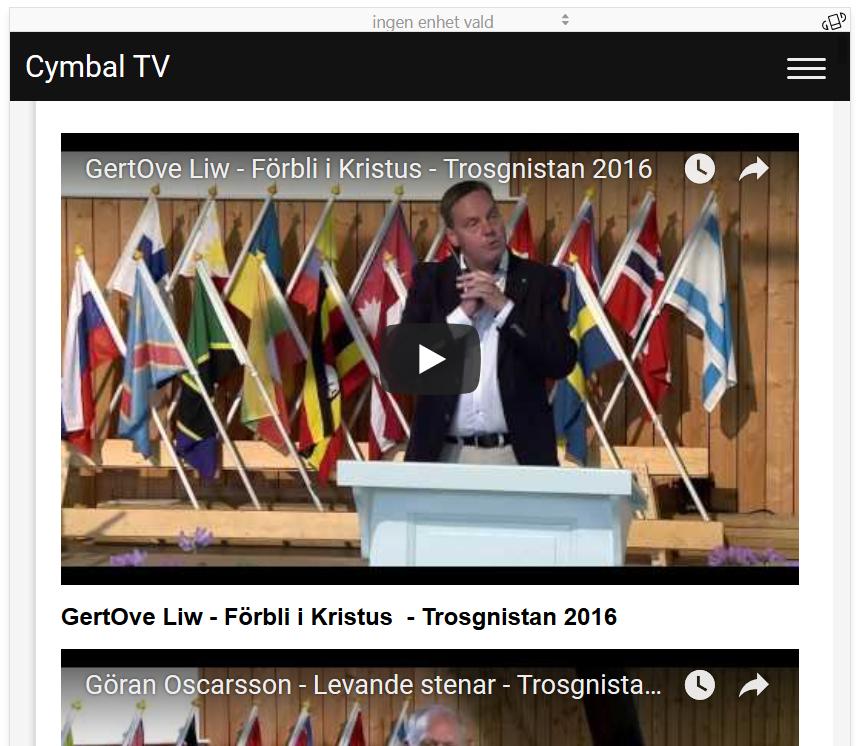 Cymbal TV skärmdump med klipp från Smålandskonferensen