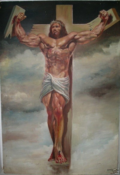 En muskulös Jesus bryter sönder korset han hänger på med sin armstyrka