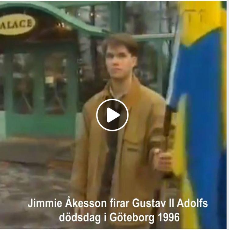 Skärmdump: Jimmie Åkesson firar Gustav II Adolfs dödsdag i Göteborg 1996.