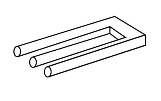 Till vänster tycks det vara tre runda rör, till höger två fyrkantiga som sitter ihop.