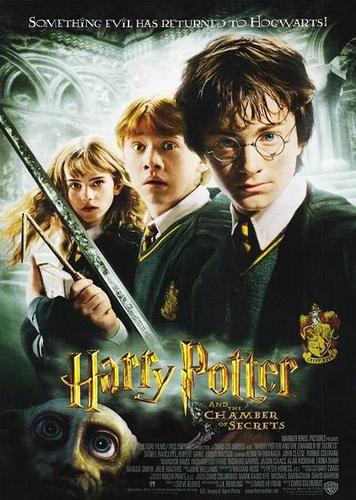 Filmaffisch. Harry Potter och hemligheternas kammare. Text: Något ont har återvänt till Hogwarts.